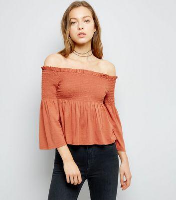 Light Brown Shirred Bardot Neck 3/4 Sleeve Top