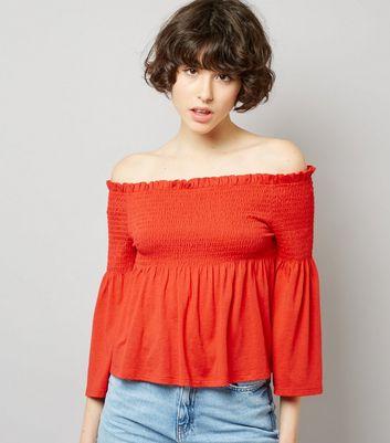 Red Shirred Bardot Neck Top