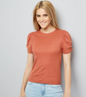 Light Brown Ruched Sleeve T-Shirt