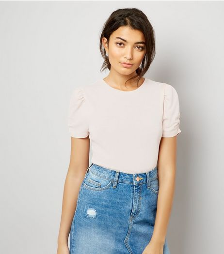 Pink Ruched Sleeve T-Shirt | New Look