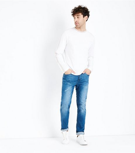 Blue Rolled Hem Slim Leg Jeans | New Look