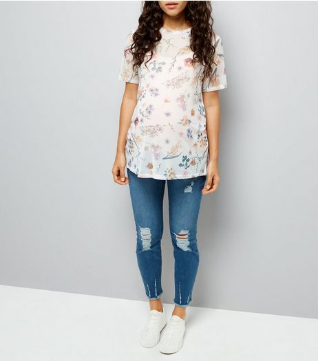 Maternity Blue Distressed Under Bump Skinny Jeans | New Look