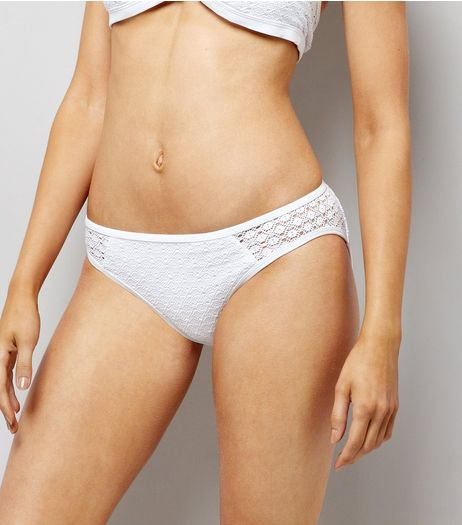 White Crochet Bikini Bottoms  | New Look