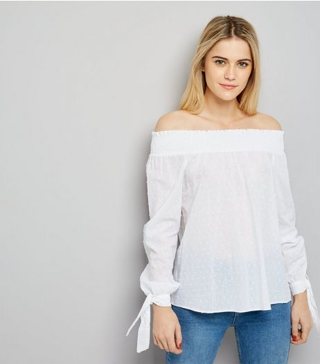 Tall White Spot Cotton Bardot Neck Top | New Look