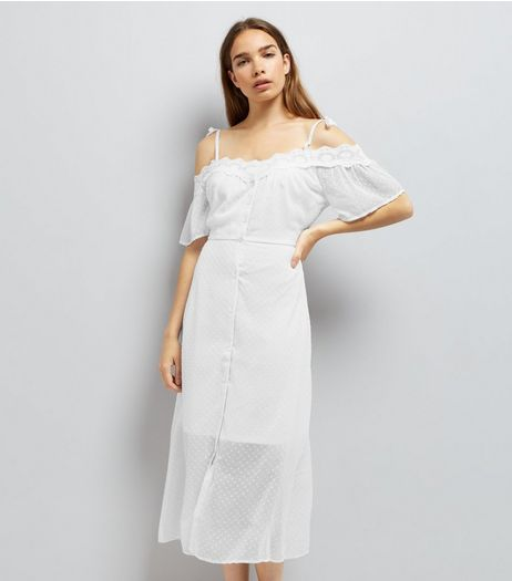 White Spot Chiffon Lace Trim Cold Shoulder Dress | New Look