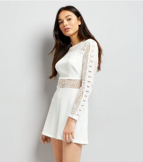 White Lace Insert Long Sleeve Playsuit | New Look