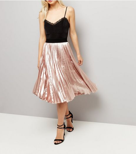 Shell Pink Satin Pleated Midi Skirt  | New Look