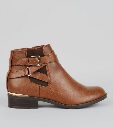 Teens Tan Metal Trim Ankle Boots  | New Look