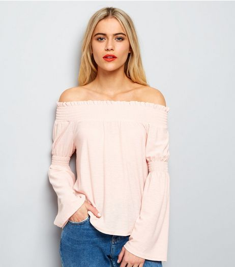 Shell Pink Flared Sleeve Bardot Top | New Look