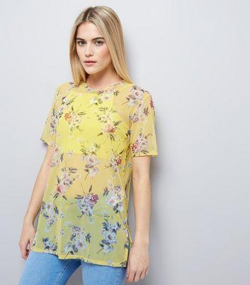 Yellow Floral Print Mesh T-Shirt