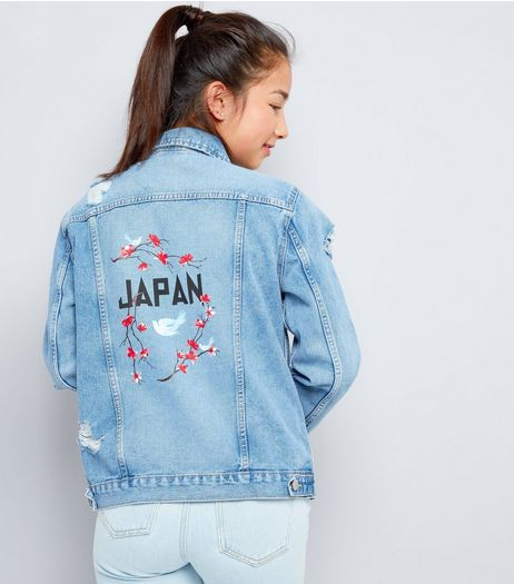 Teens Blue Japan Floral Embroidered Denim Jacket | New Look