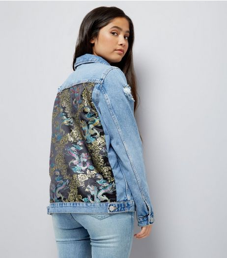 Teens Blue Denim Oriental Back Jacket | New Look