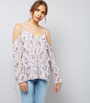 Grey Chiffon Floral Print Cold Shoulder Top