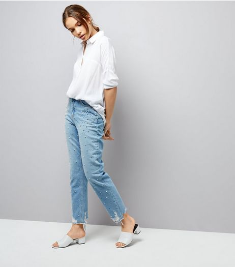 Blue Embellished Stud Trim Tori Mom Jeans  | New Look