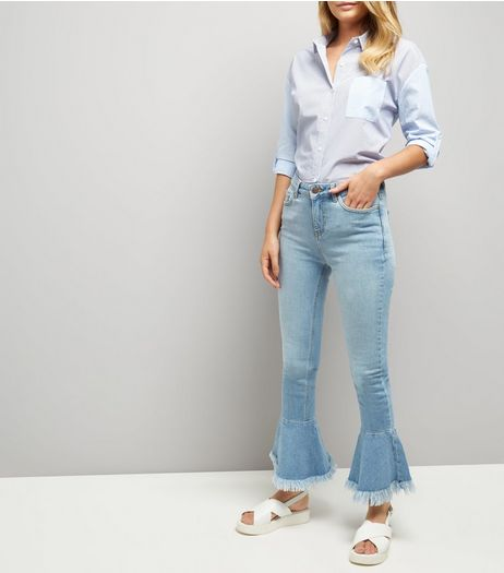 Blue Frill Hem Flared Jeans | New Look