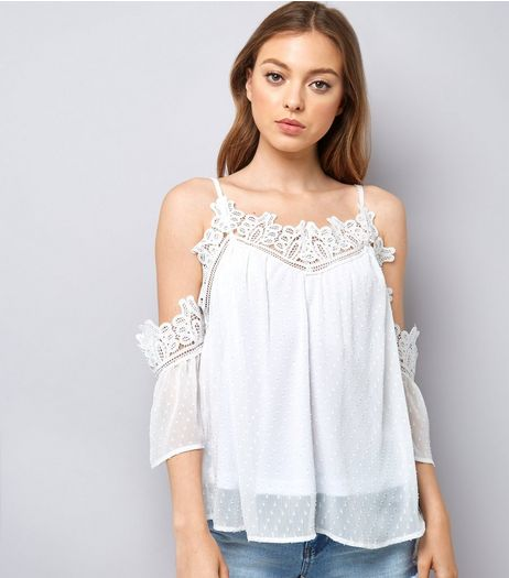 White Crochet Lace Trim Cold Shoulder Top  | New Look