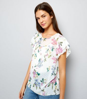 White Floral Print Layered Frill Sleeve Top