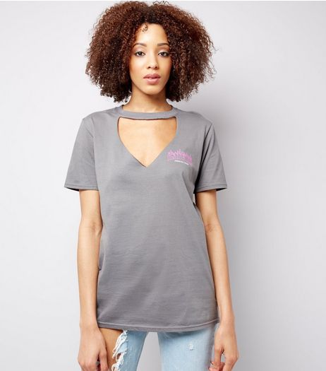 Grey Heartache Print Choker Neck T-Shirt  | New Look