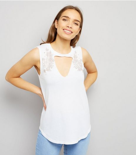 White Floral Stud Trim Choker Neck Tank Top  | New Look
