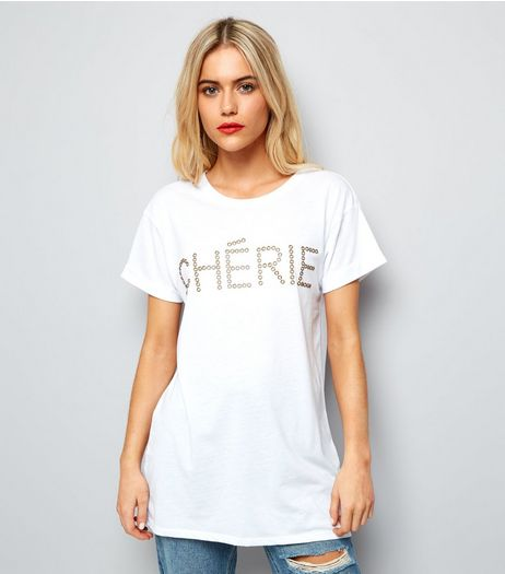 White Studded Chérie T-Shirt  | New Look