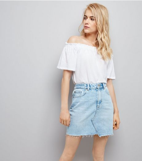 Blue Asymmetric Hem Denim Skirt  | New Look