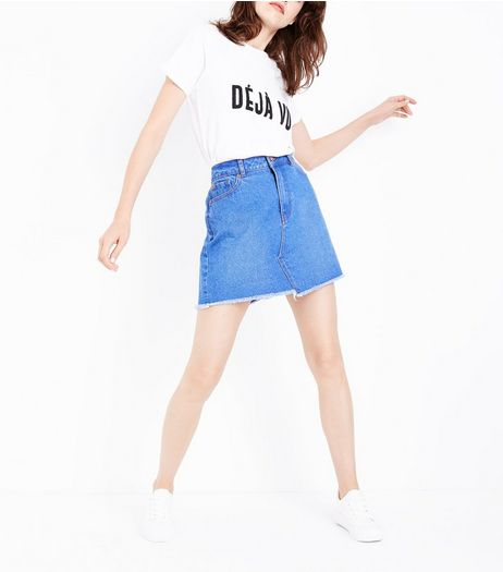 Blue Asymmetric Fray Hem Denim Skirt | New Look