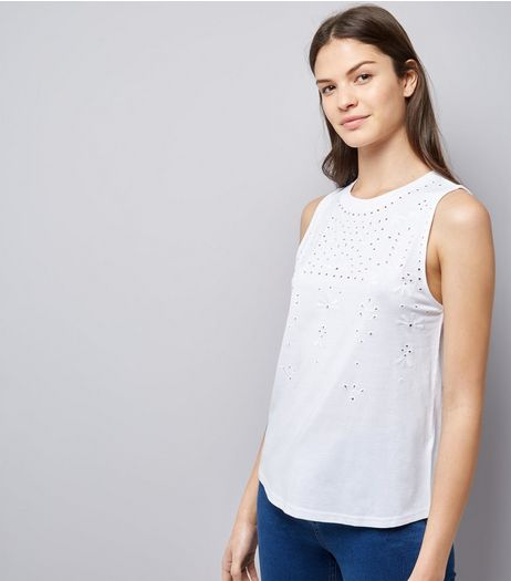 White Floral Cut Out Top | New Look