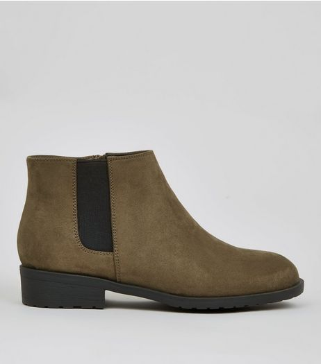 Teens Khaki Suedette Low Heel Chelsea Boots | New Look