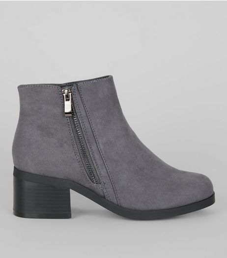 Teens Grey Suedette Zip Side Boots | New Look