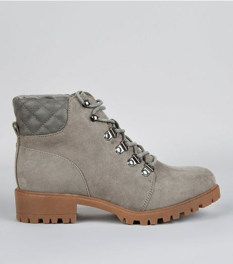Teens Grey Quilted Panel Worker Boots | New Look