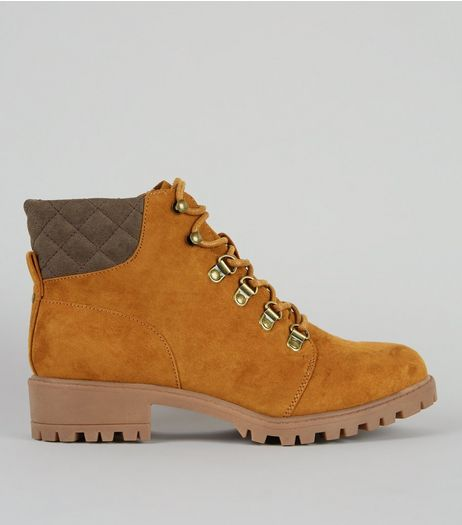 Teens Tan Suedette Lace Up Worker Boots | New Look
