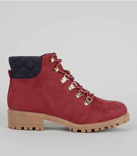 Teens Red Suedette Lace Up Worker Boots | New Look