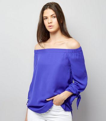 Purple Tie Sleeve Bardot Top