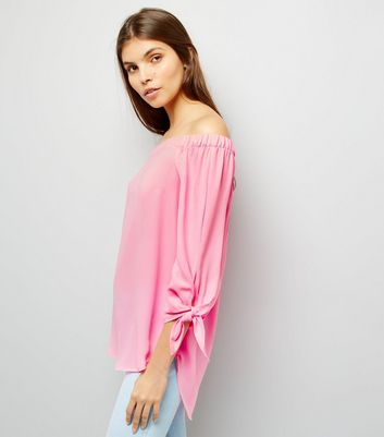 Pink Tie Sleeve Bardot Top