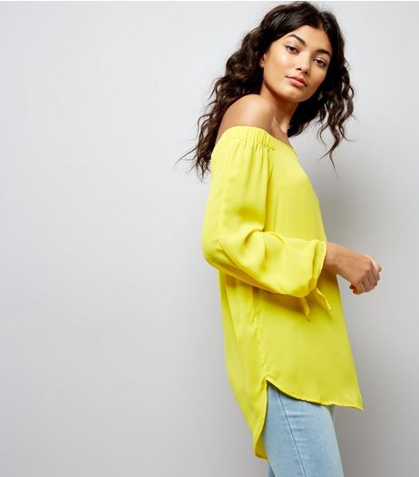 Yellow Tie Sleeve Bardot Neck Top | New Look