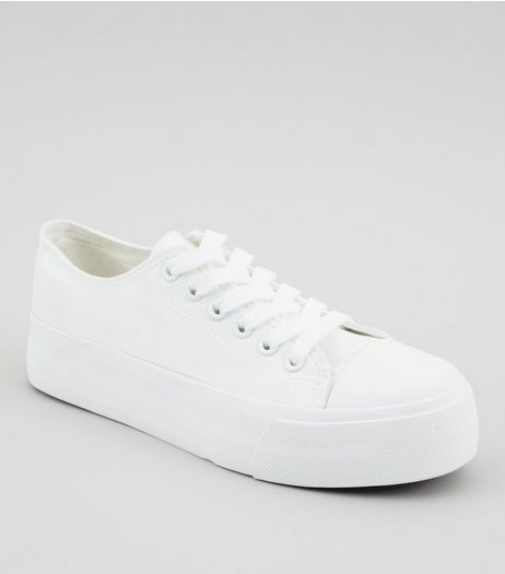 White Platform Trainers  | New Look
