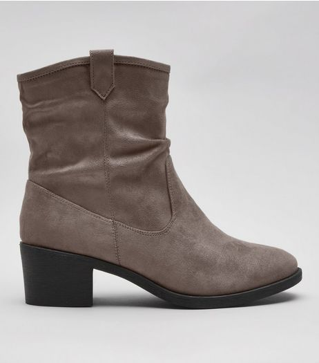 Wide Fit Grey Suedette Slouch Boots | New Look