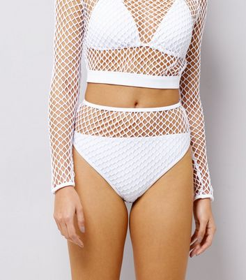 White Mesh High Waist Bikini Bottoms