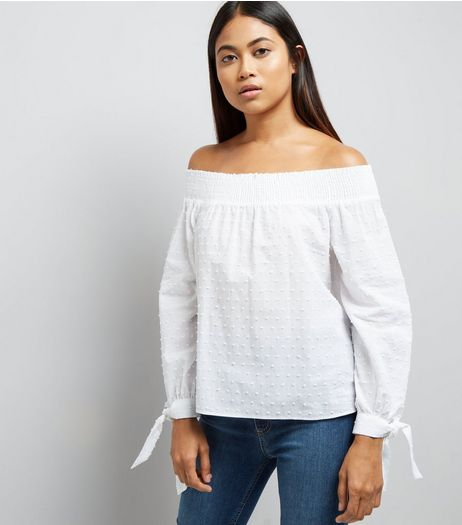 Petite White Textured Bardot Neck Top | New Look