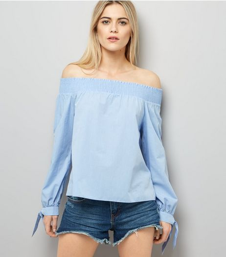 Blue Tie Sleeve Bardot Neck Top  | New Look