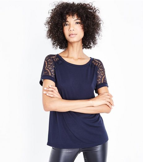 JDY Navy Lace Sleeve Top | New Look