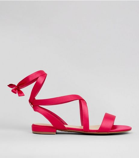 Wide Fit Pink Satin Ankle Tie Sandals | New Look