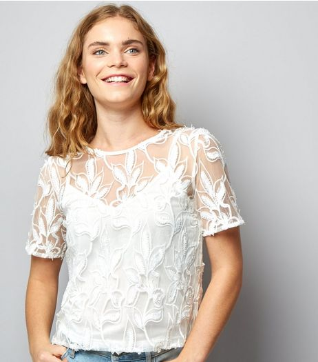 Cameo Rose White Floral Mesh Top | New Look