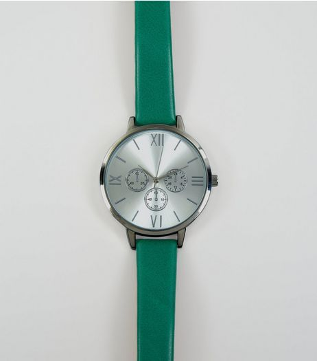 Green Mini Dials Strap Watch | New Look