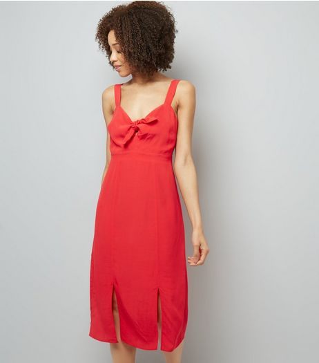 Red Bow Front Split Front Midi Dress | New Look