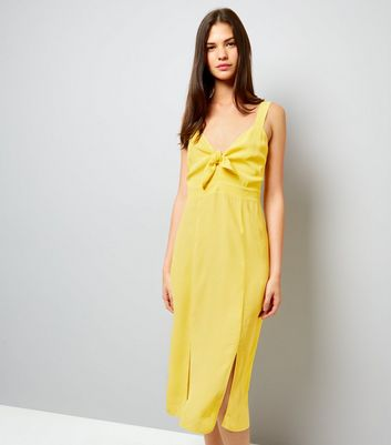Yellow Bow Front Split Front Midi Dress