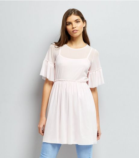 Pale Pink Mesh Skater Dress | New Look