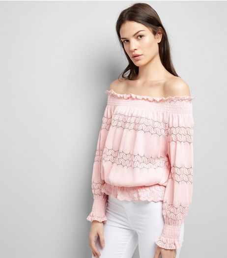 Cameo Rose Pink Crochet Lace Trim Bardot Neck Top   | New Look