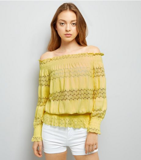 Cameo Rose Yellow Bardot Neck Top | New Look