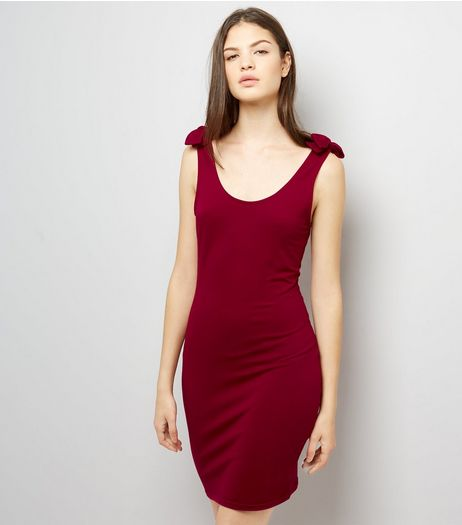 Red Tie Strap Bodycon Jersey Dress | New Look